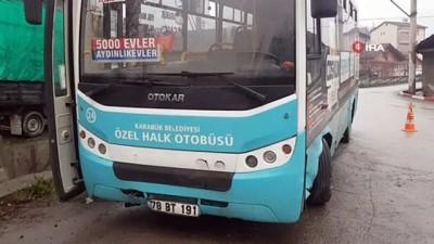 Halk otobüsü ile kamyonet çarpıştı: 1 yaralı
