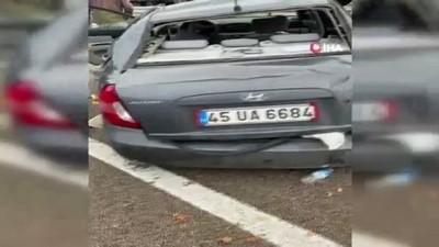 amator -  Kayganlaşan yolda kontrolden çıkıp bariyerlere çarptı: 1 yaralı