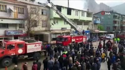 Yusufeli'nde banka çatısında korkutan yangın