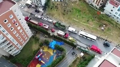 Helikopterin enkazı havadan görüntülendi