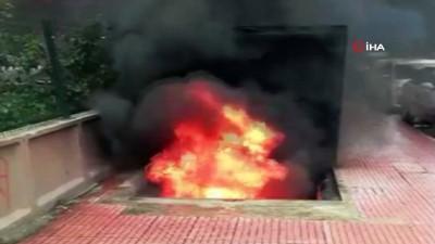 yangina mudahale -  Yer altı çöp konteynerına atılan izmarit yangın çıkardı