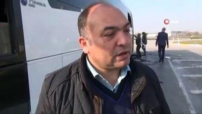 yolcu otobusu -  Yolcu otobüsü alev alev yandı, sürücü faciayı önledi