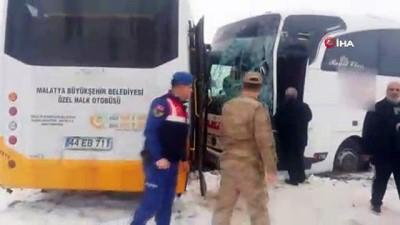 yolcu otobusu -  Malatya'da iki otobüs çarpıştı: 18 yaralı