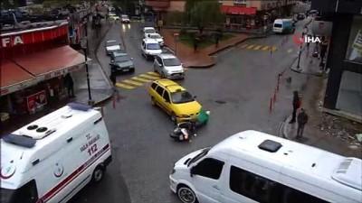 Kırmızı ışıkta yaya geçidinde bekleyen aileye böyle çarptılar... Rize'de trafik kazaları Mobese kameralarında