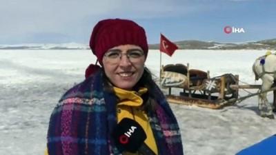 Kars'ta 40 santim buz tutan göl üzerinde atlı kızak keyfi