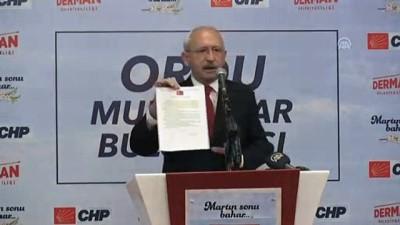 Kılıçdaroğlu : '(Tank palet fabrikası) Katar sözleşmesini iptal et, 50 milyon doları bir hafta içerisinde bulmazsam ben siyaseti bırakacağım' - ORDU