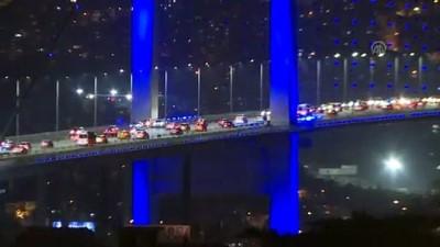 Kule ve köprüler maviye büründü - İSTANBUL