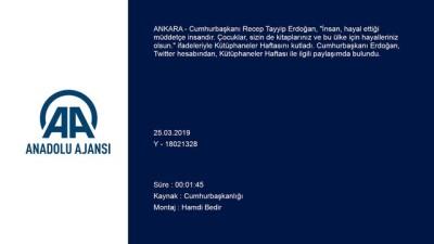 Cumhurbaşkanı Erdoğan'dan Kütüphaneler Haftası paylaşımı - ANKARA