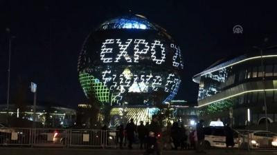 kuresel isinma - Kazakistan'da 'Dünya saati' etkinliği - NUR SULTAN