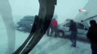 2 bin 730 rakımda kayarak kaza yapan araçlar böyle görüntülendi