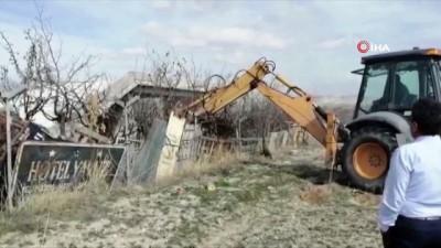 Kapadokya'da kaçak yapı yıkımları devam ediyor