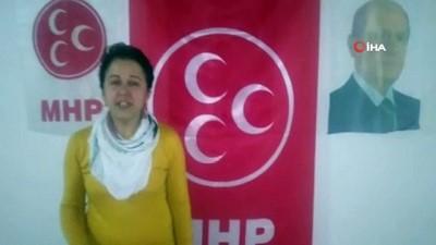 MHP'li 228 kadın, ışıklarla şiddete hayır el logosu oluşturdular