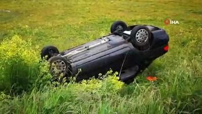 Yağışlı hava kaza getirdi, emniyet kemeri çiftin hayatını kurtardı