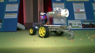 gorme engelli -  Çiftçi babaları zorluk çekmesin diye insansız tarım aracı yaptılar