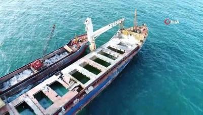 kuru yuk gemisi -  Şile'de karaya oturan gemiyi kurtarma çalışmalarında son durum havadan görüntülendi