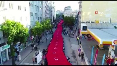 festival -  1919 metre Türk bayrağı ile yürüyüş gerçekleştirildi