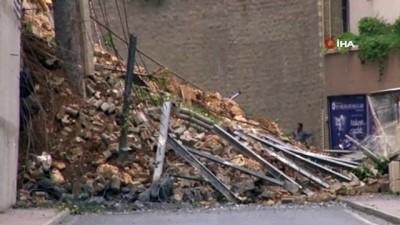 Başakşehir'de çöken istinat duvarının çevresinde teknik çalışmalar devam ediyor