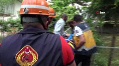 Ayağını çapa makinesine kaptıran yaşlı adam hastaneye kaldırıldı