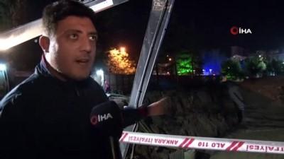 Başkent'te çöken bariyerler doğalgaz borusunu patlattı