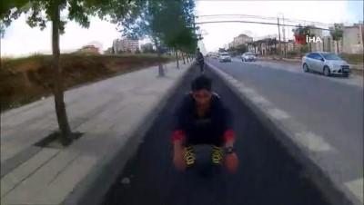 kisla -  Gaziantep'te gençlerin paten terörü...Araçlar seyir halindeyken yolda dans ettiler