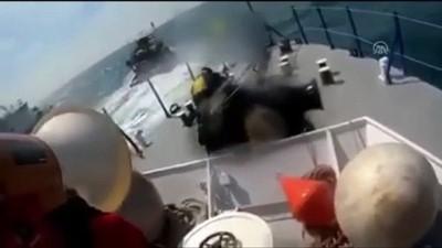 Ordulu balıkçıların teknesine Romanya Sahil Güvenlik ekiplerinin müdahale görüntüleri
