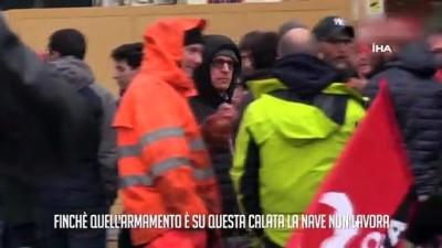 protesto -  İtalyan işçiler, silah taşıyan Suudi gemisine mal yüklemedi