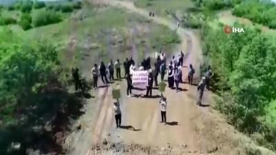 İlk defa eylem yapan köylülerden maden ocağı tepkisi