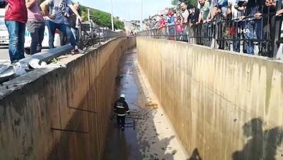 Kontrolden çıkan otomobil 3 metre derinliğindeki su kanalına düştü: 1 yaralı