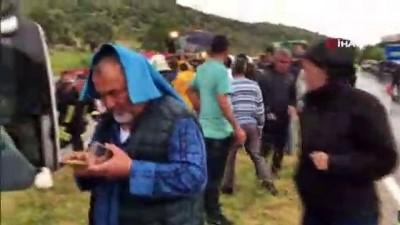 katliam -  Milas'ta yolcu otobüsü devrildi ölü ve yaralılar var