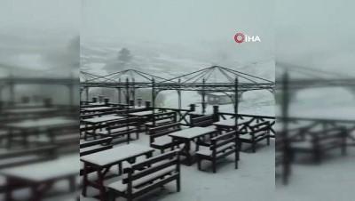 kar yagisi -  Uludağ'a mayıs ayında kar sürprizi