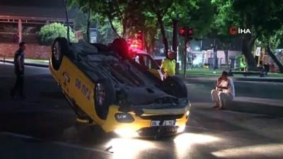 ticari taksi -  Beyoğlu'nda takla atan taksiden burnu bile kanamadan çıktı