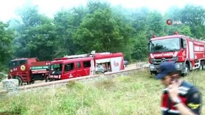 Çekmeköy'de felçli vatandaşın evinde çıkan yangın havadan görüntülendi