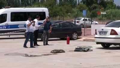 Alev alan otomobilin içerisinde kilitli kalan engelli vatandaş ağır yaralandı