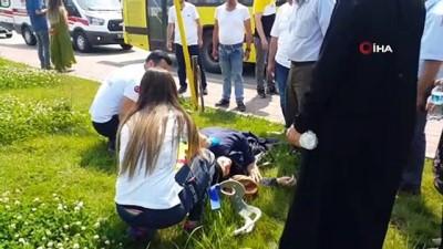 polis merkezi -  Otobüs şoförünün fark etmediği kadın otobüsten düştü