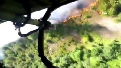 helikopter -  Ömerli'de ormanlık alanda yangın çıktı