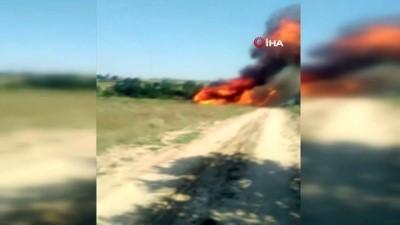 Saman balyası yüklü kamyon alev alev böyle yandı