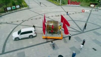 naat -  - Çinli çiftçi ülkenin kuruluşunun 70'inci yılı nedeniyle 350 kiloluk davul yaptı