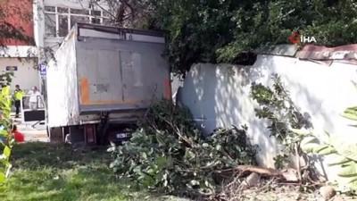 saglik ocagi -  Yasak olan yokuşa giren kamyonet freni patlayınca ağaçları yerinden söktü