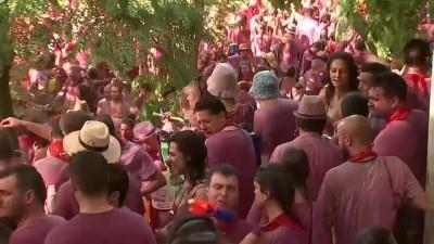 ispanya - İspanya'da 'şarap savaşı' partisinde 70 bin litre şarap cephane oldu
