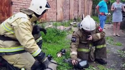 nadan -  - Rus İtfaiyeciler Yangından Kurtardıkları Kediyi Hayata Döndürdü