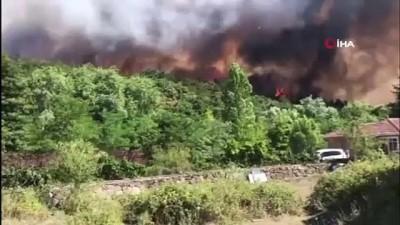 Fabrikalara sıçrayan orman yangınına havadan ve karadan müdahale sürüyor