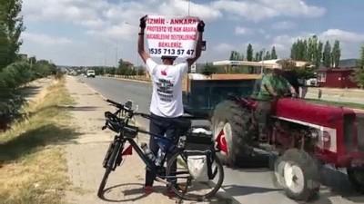 isten cikarma - Bisikletiyle 'Adalet ve Demokrasi Yolculuğu'na' çıkan işçi Uşak'ta