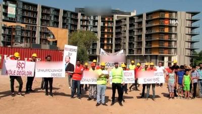 insaat alani -  50'ye yakın işçi maaşlarını alamadıkları iddiasıyla eylemde