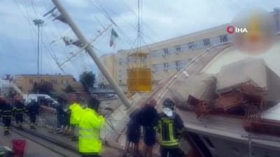 - İtalya'da 90 metrelik lüks yat limanda devrildi