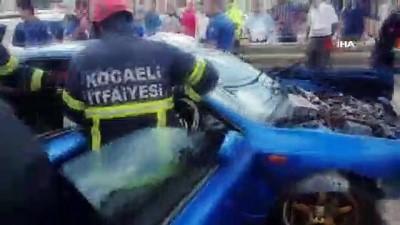 Kocaeli'de zincirleme kaza... Kaza anı güvenlik kamerasına böyle yansıdı