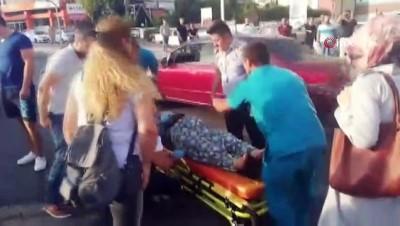 calisan kadin -  Yaralı kadın hastaneye götürülürken ikinci kazadan kıl payı kurtuldu...Kaza anı böyle görüntülendi