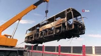 Aksaray'da yolcu otobüsü yanarak kül oldu
