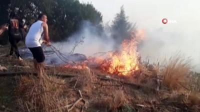 makilik alan -  Serik'te arazi yangını