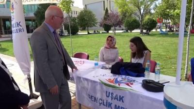 genclik merkezi -  Uşak Üniversitesi Rektörü Savaş, topluluk stantlarını gezerek öğrencilere destek verdi