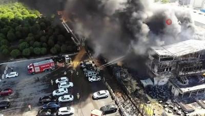 Tuzla'da fabrika yangınındaki son durum havadan görüntülendi Haberi